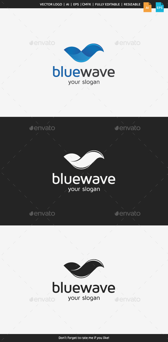 GraphicRiver Blue Wave Logo 9870358
