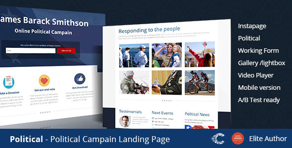 ThemeForest Political Campaign Instapage Template 9525996