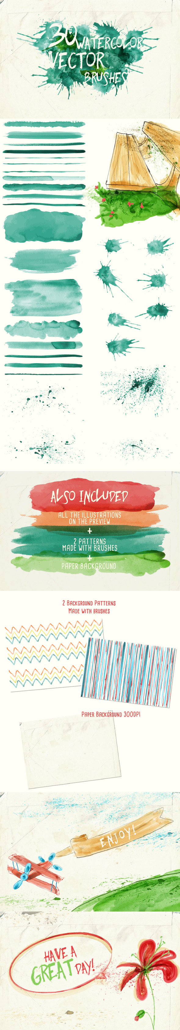 GraphicRiver Watercolor Vector Art Brushes 9845118