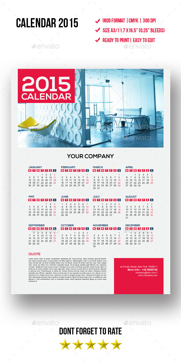 GraphicRiver Calendars Template 9870699