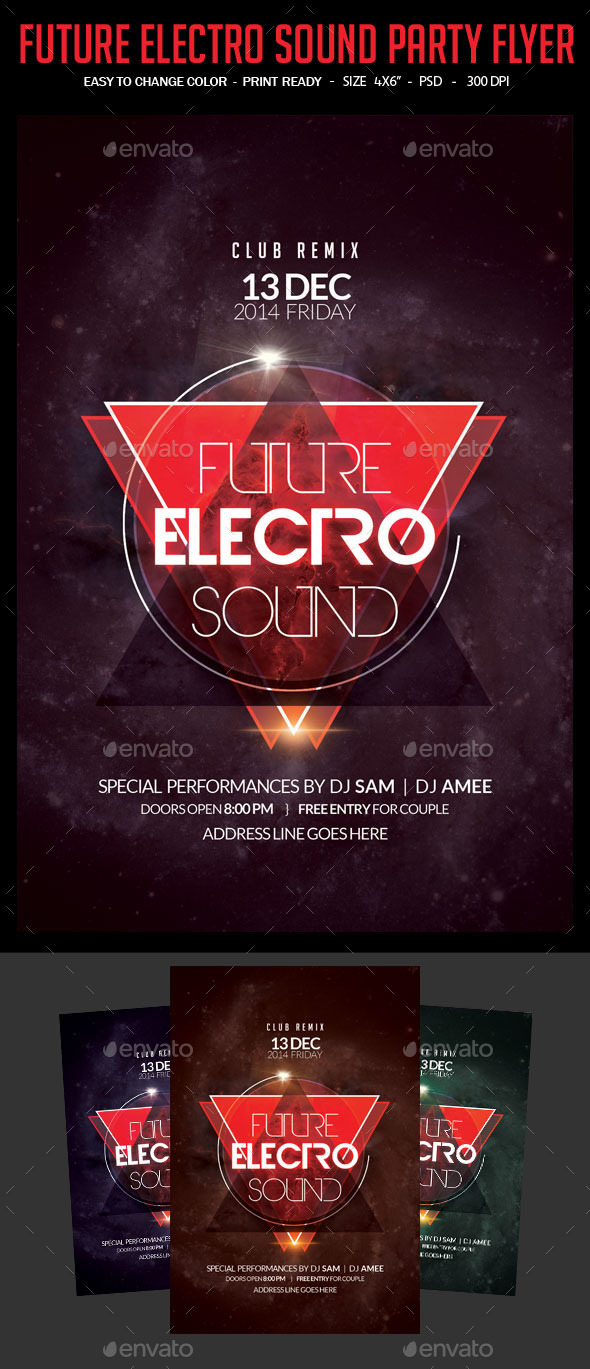 GraphicRiver Future Electro Sound Party Flyer 9871035