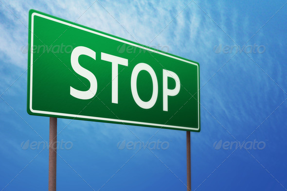 Stop Greeb Sign - Stock Photo - Images