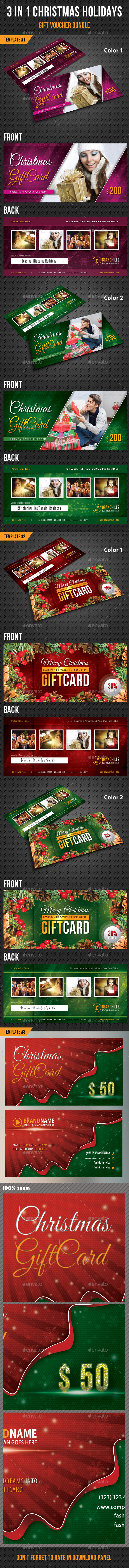 GraphicRiver 3 in 1 Christmas Holidays Gift Voucher Bundle 9871211
