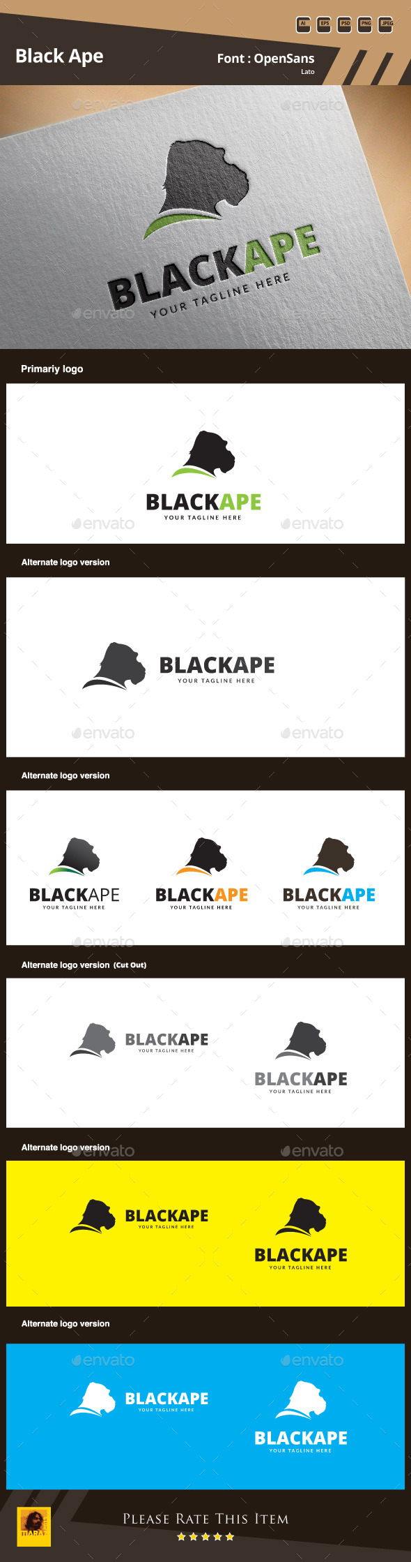 GraphicRiver Black Ape Logo Template 9871879