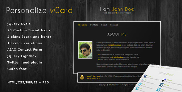 Personalize - Elegant and Professional vCard theme - Virtual Business Card Personal