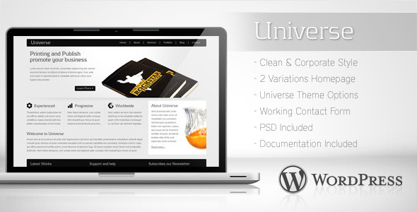 ThemeForest Universe Corporate Business Wordpress Theme 2 120830