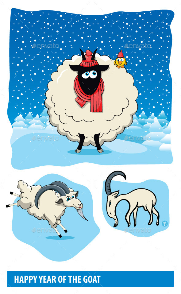 GraphicRiver Goat Cartoons 9872402