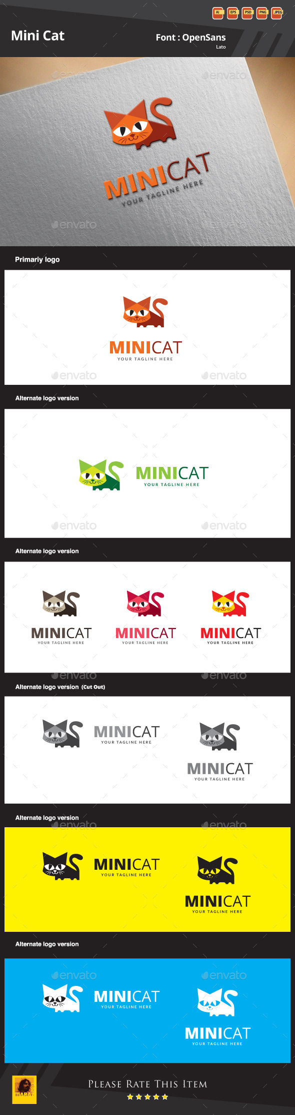 GraphicRiver Mini Cat Logo Template 9872543