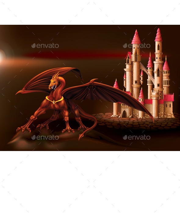 GraphicRiver Fantasy Castle and Dragon 9872733