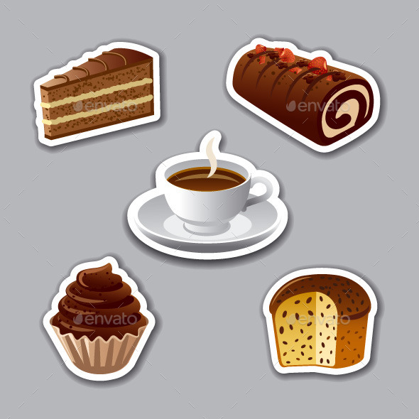GraphicRiver Cakes Stickers 9872883