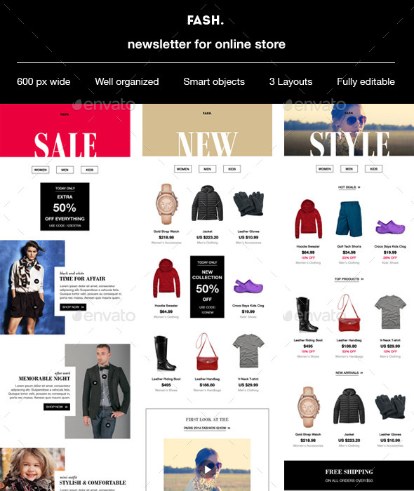 GraphicRiver Fash E-commerce newsletter template 9872909