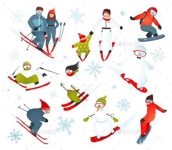 GraphicRiver Skier Snowboarder Snowflakes Winter Sport Set 9873238