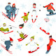 Skier Snowboarder Snowflakes Winter Sport Set - GraphicRiver Item for Sale