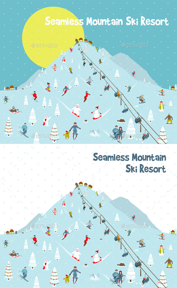 GraphicRiver Cartoon Mountains Skyline Ski Resort Pattern 9873310