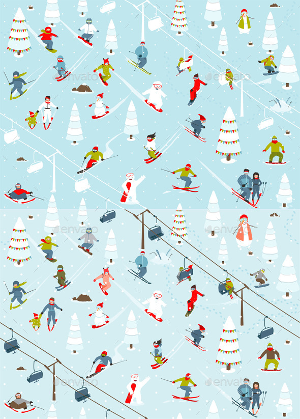 GraphicRiver Cartoon Mountain Ski Resort Seamless Pattern 9873414