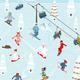 Cartoon Mountain Ski Resort Seamless Pattern - GraphicRiver Item for Sale
