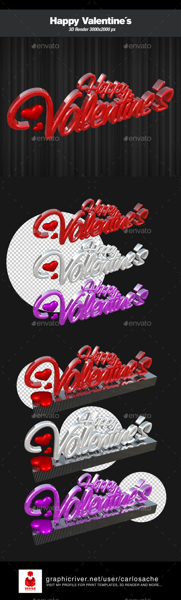 GraphicRiver Happy Valentine's 3D Render Text 9873936