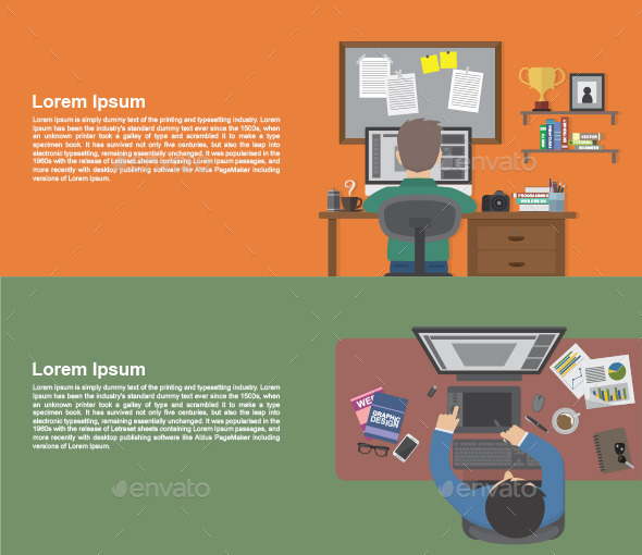 GraphicRiver People Working on Desk 9856071