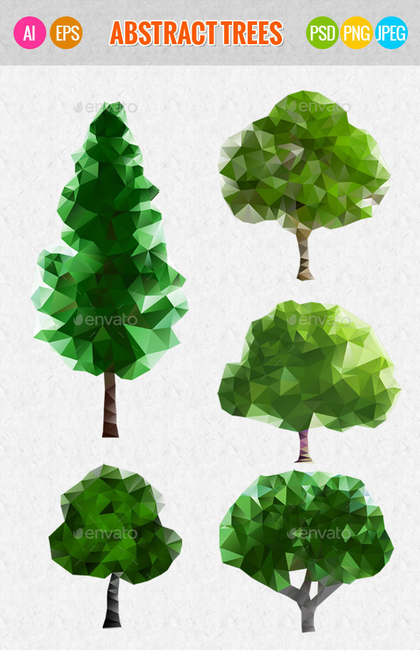 GraphicRiver Green Abstract Trees 9875998