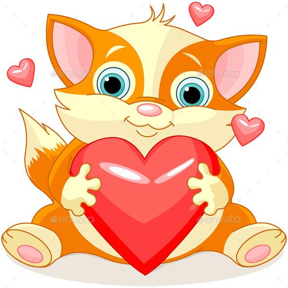 GraphicRiver Valentines Kitten 9876637