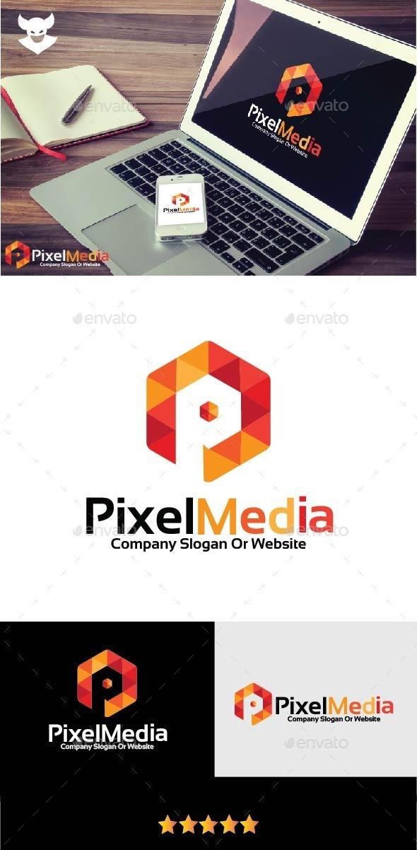 GraphicRiver Pixel P letter Logo 9876718