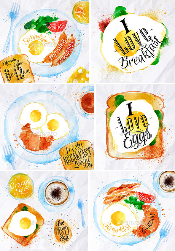 GraphicRiver Breakfast Watercolor 9865865