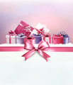 Merry Christmas card with a ribbon and gift boxes.  - PhotoDune Item for Sale