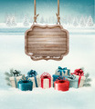 Christmas background with a retro wooden sign and gift boxes - PhotoDune Item for Sale