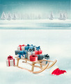 Christmas background with presents on a sleigh. - PhotoDune Item for Sale