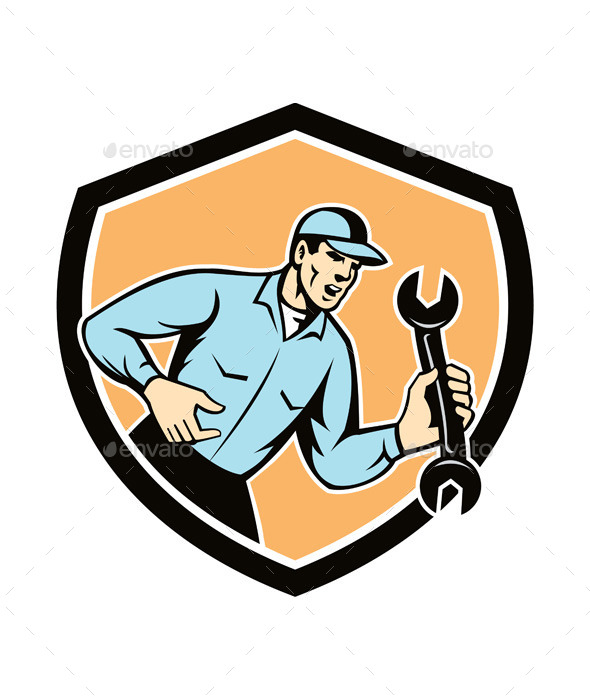 GraphicRiver Mechanic Shouting Holding Spanner Wrench 9877238