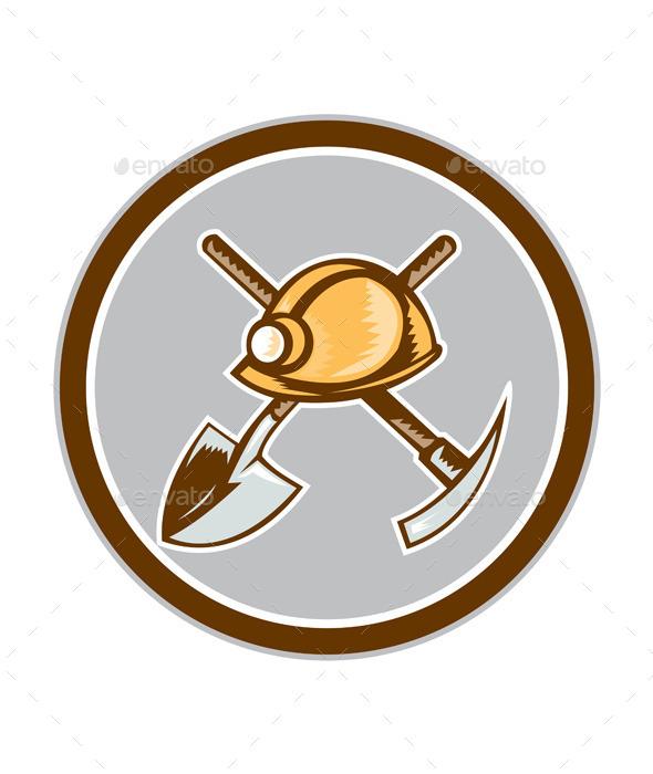 Miner Hardhat Spade Pick Axe Circle