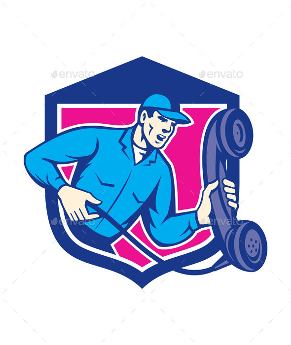 GraphicRiver Telephone Repairman Holding Phone Shield Retro 9877301