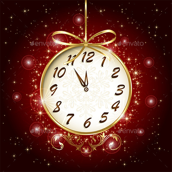 GraphicRiver Clock on Red Background 9878057