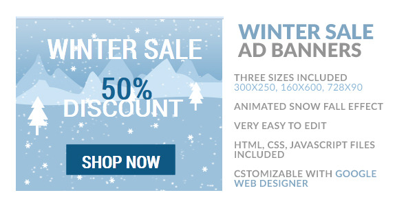 CodeCanyon Winter Sale HTML5 Ad Banner 9878067