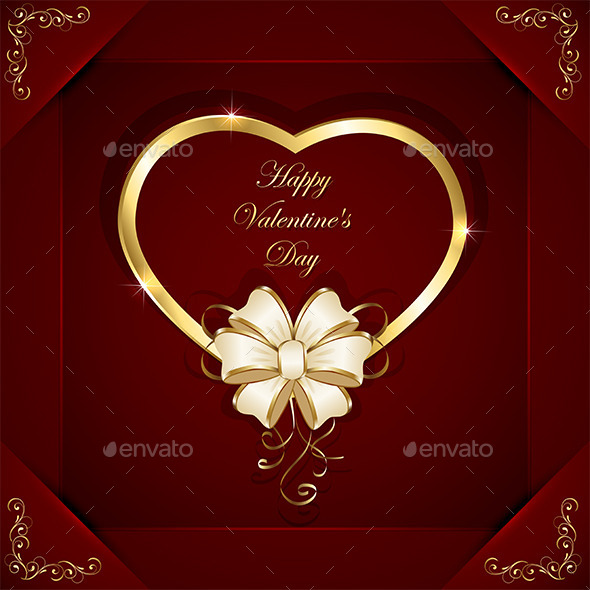GraphicRiver Heart with Beige Bow 9878447