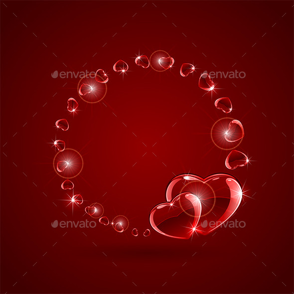 GraphicRiver Hearts on Background 9878604