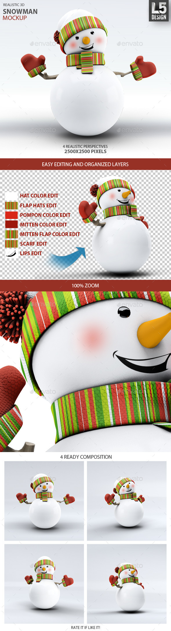 GraphicRiver Snowman Mock-Up 9878988