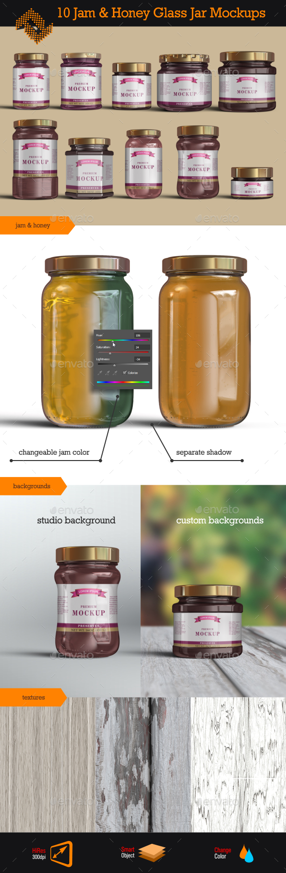 GraphicRiver 10 Jelly Jam Honey Jars Mockup 9879151