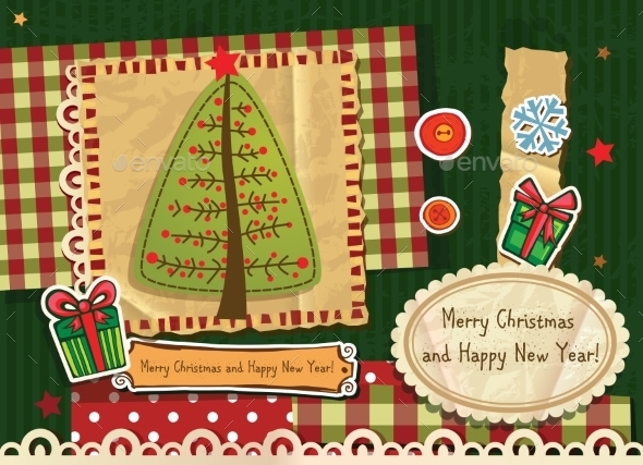 Scrapbook Christmas Greeting Card