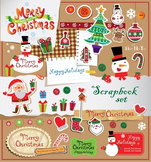 GraphicRiver Christmas Scrapbook Set 9879689