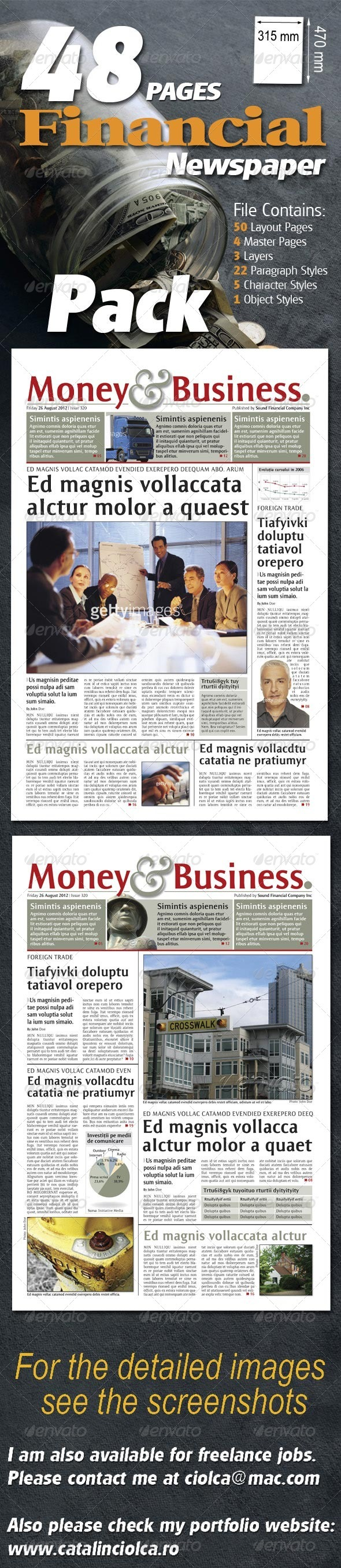 GraphicRiver 48 Pages Financial Newspaper Pack 967309