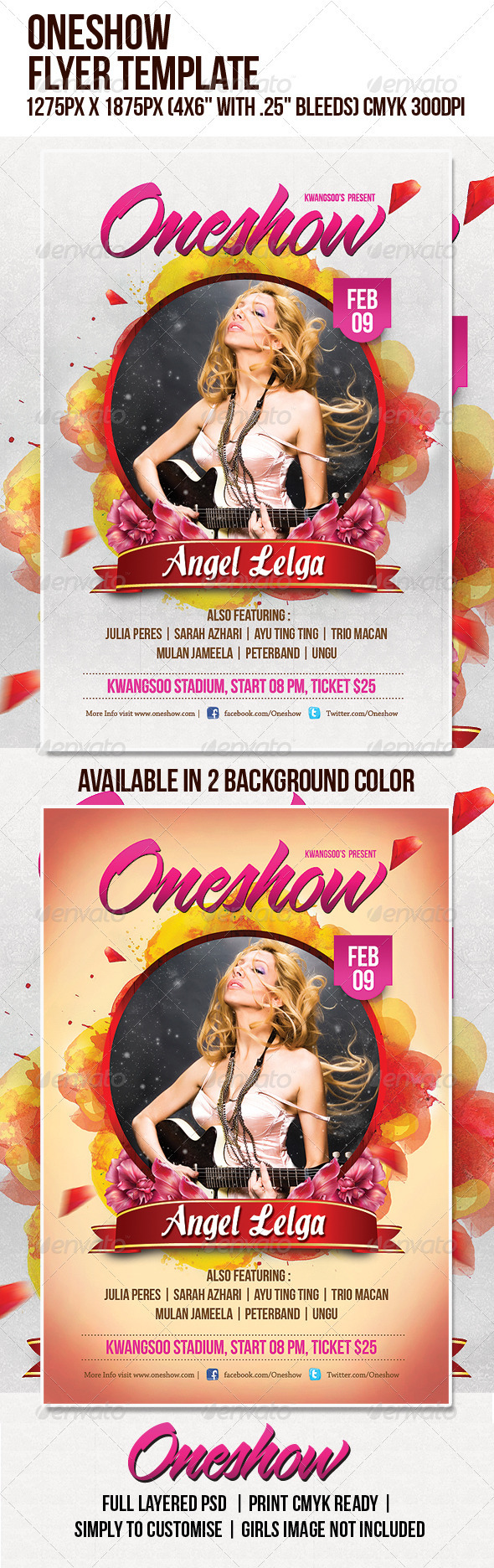 Oneshow Music Flyer Template - Clubs & Parties Events