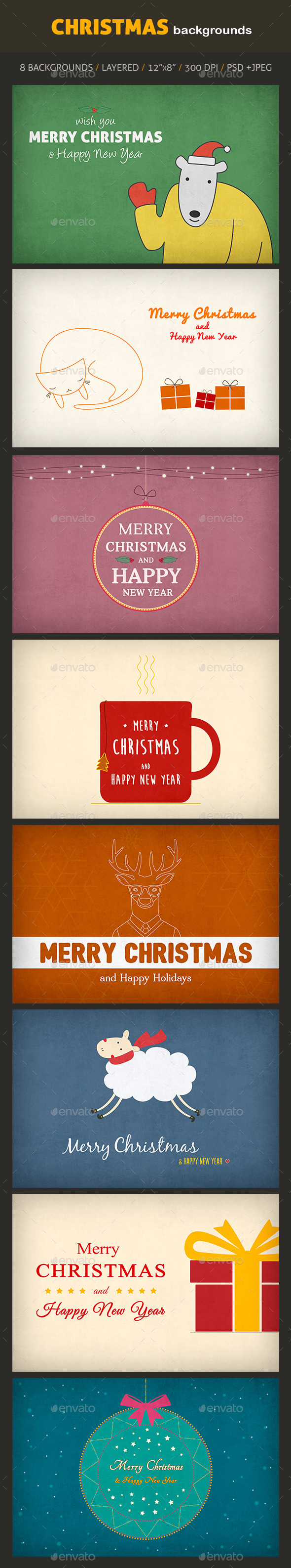 GraphicRiver Christmas Backgrounds 9893755