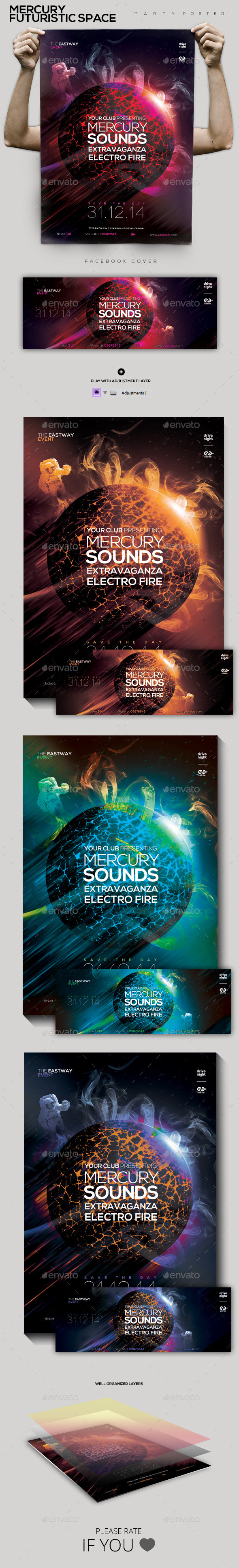 GraphicRiver Mercury Futuristic Space Party Flyer Poster 9860008