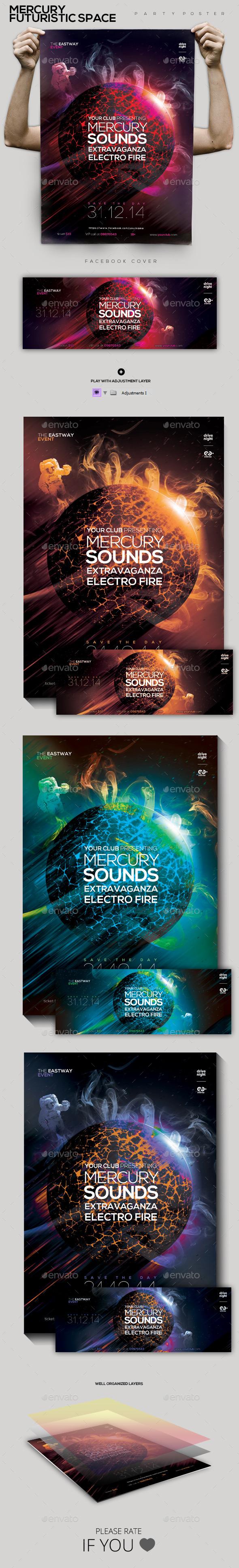 GraphicRiver Mercury Futuristic Space Party Flyer Poster 9860008