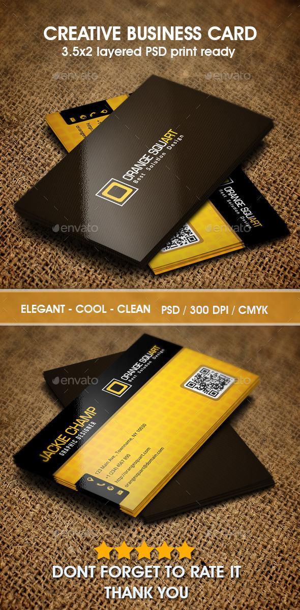GraphicRiver Orange Squart Business Card 9846620