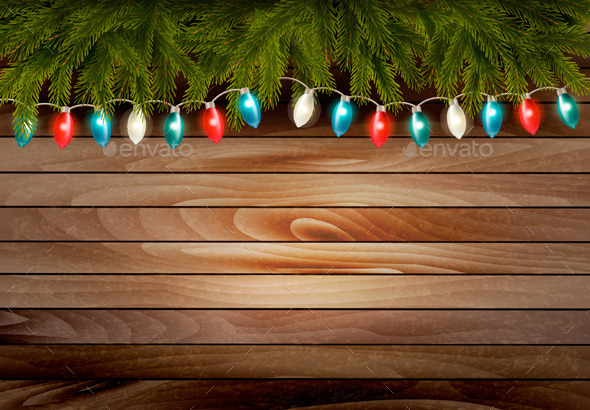 GraphicRiver Christmas Wooden Background with Branches 9894145