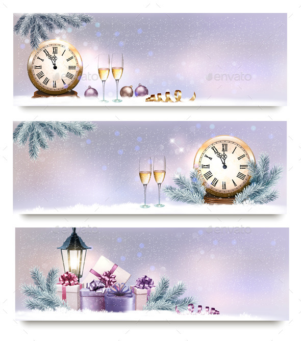 GraphicRiver Three Christmas and New Year Banners 9894205