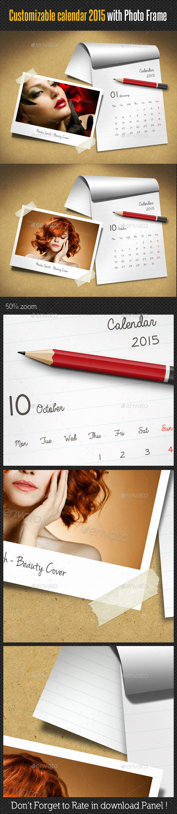 GraphicRiver Customizable Calendar 2015 Photo Frame V06 9894218