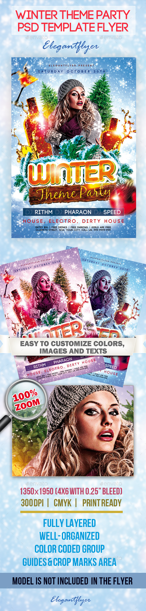 Winter Theme Party Flyer PSD Template